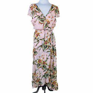 Band of Gypsies Orchid Maxi Dress Ruffles Wrap M